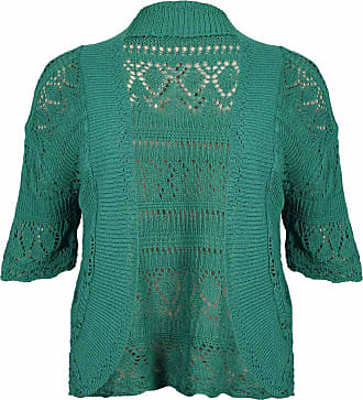 Purple Hanger Womens New Crochet Front Open Ladies Short Sleeve Knitted Bolero Cropped Cardigan Shrug Top Plus Size Jade Green Size 14