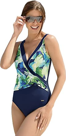 Naturana Womens Control Drawstring Swimsuit 73070 Navy/Green Floral 023-46C