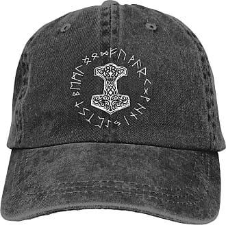 Not Applicable Clothing Moisture Wicking Travel Cap,Fast Dry Skull Cap,Fitness Hip Hop Hat,Vikings Mjolnir and Rune Wheel Norse Mythology Symbol Denim Jeanet Baseball Cap Adj
