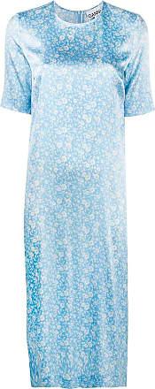 Ganni floral-print shift dress - Azul