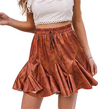QIYUN.Z Womens Flared Short Skirt Polka Dot Pleated Mini Skater Skirt with Drawstring Dark Orange L
