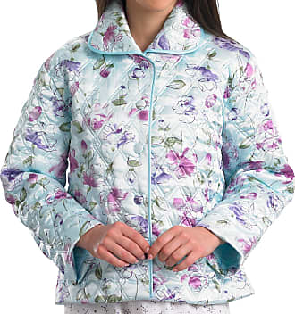 Slenderella Ladies Quilted Bed Jacket Floral Satin Style Button Up Housecoat Large (Mint)
