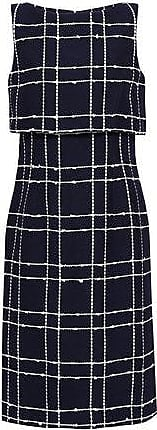 Oscar De La Renta Oscar De La Renta Woman Layered Checked Cotton-blend Jacquard Dress Navy Size 10