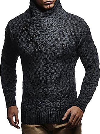 c7acf54c332b7d LEIF NELSON Herren Strick-Pullover Schalkragen Slim Fit Winter Sommer   Moderner Männer schwarzer Pulli