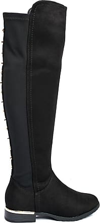 Ikrush Cleo Faux Suede Studded Knee High Boots Black UK 3