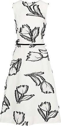 Oscar De La Renta Oscar De La Renta Woman Belted Fil Coupé Crepe Dress White Size 14