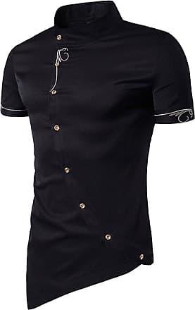 NPRADLA Men Casual Button Shirt Oblique Button Mandarin Collar Men Tuxedo Shirts Formal Dress Shirts Black