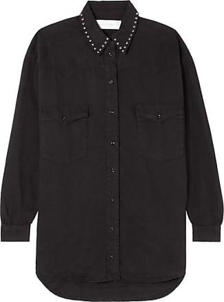 Victoria Beckham Studded Denim Shirt - Black