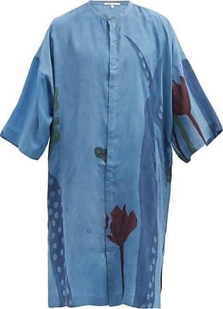 11.11 / eleven eleven 11.11 / Eleven Eleven - Floral-print Silk Kaftan - Mens - Blue Multi