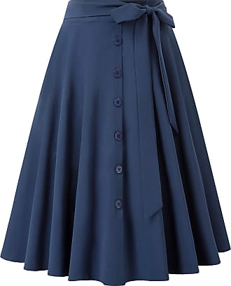 Belle Poque Womens Summer Party 50s Style Picnic 2 Pockets Side Knot Swing Skirts Navy Blue(2091-2) X-Large