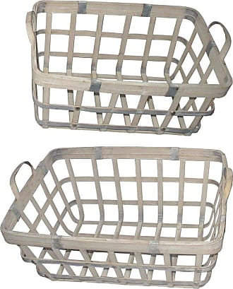 A & B Home White Woven Baskets - Set of 2 - 43767