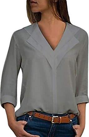 1e623012387d2d ORANDESIGNE Bluse v Ausschnitt Damen Einfarbig Casual Shirt Bluse Elegant  Freizeit V-Ausschnitt Chiffon Tunika