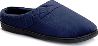 Dearfoams Microfiber Velour Clog with Quilted Cuff and Memory Foam Blue Size: 11-12