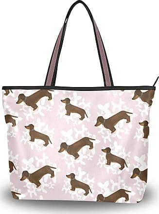 Lorona Women Dachshund Dog Pattern Canvas Shoulder Hand Bag Large Capacity Tote Bag