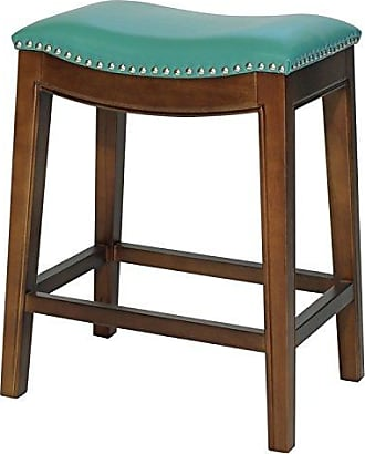 New Pacific Direct 358625B-323 Elmo Bonded Leather Counter Stool, Turquoise