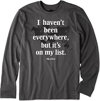 3a60ac31018 Life is good Mens Everywhere Is On My List Long Sleeve Crusher Tee XXXL  Heather Night