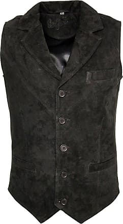 Infinity Mens Smooth Goat Suede Classic Smart Black Leather Waistcoat 2XL