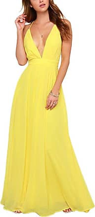 Yonglan Womens Boho Sling Beach Dress Deep V Neck Backless Sleeveless Party Evening Long Maxi Dresses Yellow XL