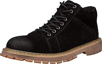 Insun Mens Padded Collar Plain Toe Oxford Boot High-top Black UK 10.5