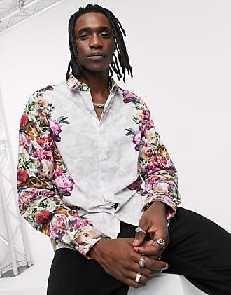 Twisted Tailor Camicia skinny bianca con stampa a fiori a specchio-Bianco