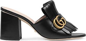 Gucci Slide de couro com Duplo G e salto médio - Preto