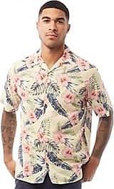 Jack & Jones short sleeve cotton shirt with all over tropic print