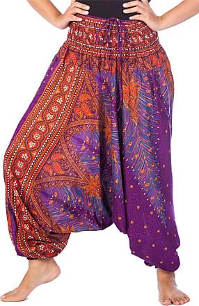 Lofbaz Womens Peacock 2 in 1 Harem Trousers Jumpsuit Purple & Orange 3XL