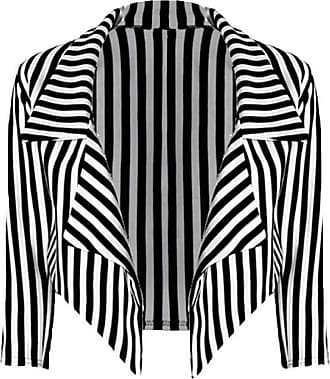Crazy Girls Womens Ladies New White Stripe Print 3/4 Sleeve Open Front Waterfall Cropped Blazer Jacket Coat (12/14, Stripe)