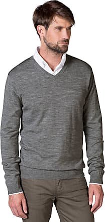 WoolOvers Mens New Merino V Neck Knitted Sweater Grey Marl, M