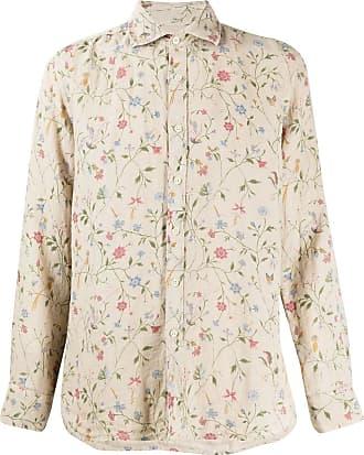 120% Lino Camisa com estampa floral - Neutro