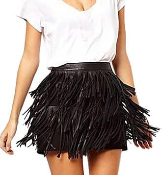 JERFER Fashion Women Holiday Summer Zipper Tassel High Waist Stage Party Mini Skirt Summer Skirt For Women (XXL, Black)