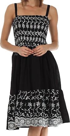 Sakkas 6502 Sequin Embroidered Smocked Bodice Knee Length Dress - Black - One Size