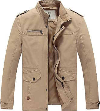 WenVen Mens Stand Collar Windbreaker Jackets Khaki X-Large