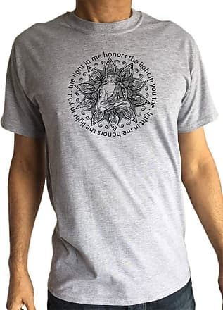 Irony Mens T-Shirt Buddha Yoga Meditation The Light in Me Honors The Light in You Print TS1767 Grey