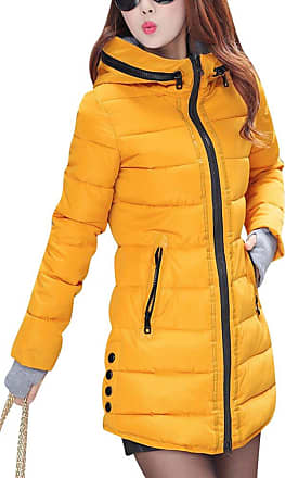 ZongSen Womens Long Down Coat Hooded Ultralight Packable Jacket Warm Coats Outwear Yellow XL