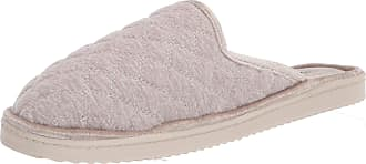 Dearfoams Womens Emily Quilted Jersey Scuff Slipper, Oatmeal Heather, Medium