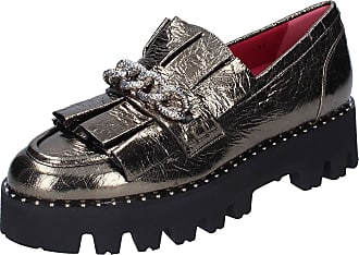 181 Women Leather Grey Loafers-Shoes 5.5 UK