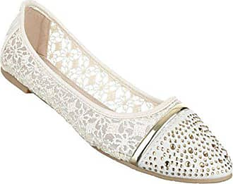 2a37921c0d5c79 Schuhcity24 Damen Ballerinas Schuhe Loafers Slipper Slip-on Flats Strass  Besetzte Pumps Creme 37