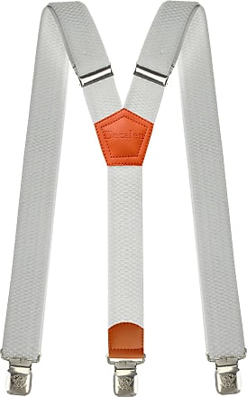 Decalen Mens braces wide adjustable and elastic suspenders Y shape with a very strong clips - Heavy duty (White 2)