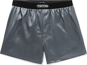 Tom Ford Velvet-trimmed Stretch-silk Satin Boxer Shorts - Dark gray