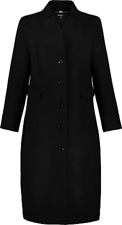 Ulla Popken Womens Plus Size Refined Long Straight Coat Black 16 725523 10-42