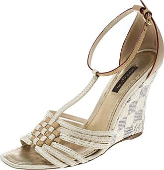 3b7059072fc4 Louis Vuitton Leather And Damier Azur Square Toe Ankle Strap Sandals 36