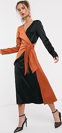 Unique21 Unique21 contast satin wrap dress-Black