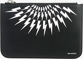Neil Barrett Leather MEDIUM ZIPPED POUCH Pochette with Thunderbolt Print size Unica