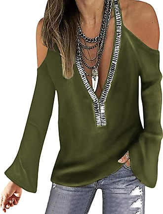 Yoins Women Cold Shoulder Cutout Blouses V Neck Long Sleeved Top Shirt Sexy Pullover with Gloss Sequins Y-Army Green M