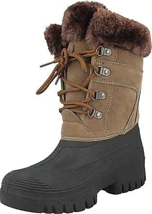Groundwork Ladies Faux Suede Fur Trim Lined Waterproof Warm Wellington Wellies Walking Rain Mid Calf Snow Boots Size 4-8 (UK 7/ EU 40, Cognac)