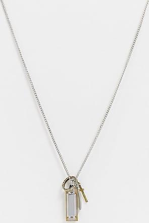 Icon Brand Catenina argento con ciondolo a croce e armonica-Multicolore