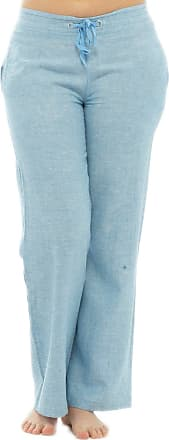 Tom Franks Womens Two Tone Colour Elasticated Waist Linen Trouser Lounge Wear Pants - Blue - Adjustable