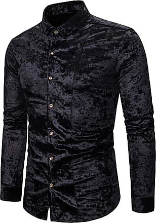 Whatlees Men Basic Design Long Sleeve Button Down Velour Dress Shirt Regular and Velvet Black 02010203XBlack+XXL