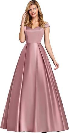 Ever-pretty Womens Off The Shoulder A Line Empire Waist Floor Length Long Satin Swing Prom Dresses Mauve 18UK